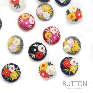 ベルベット フラワー 刺繍 くるみ ボタン S 2個 セット BLAZE 秋冬|blaze-japan