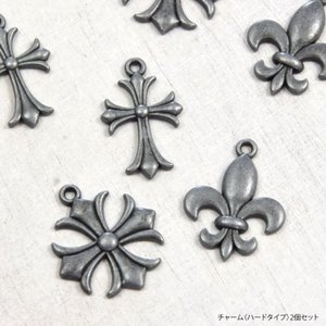 チャーム ハードタイプ 2個セット アクセサリー アンティーク メタル パンク ロック クロス 十字架  銀 シルバー風|blaze-japan