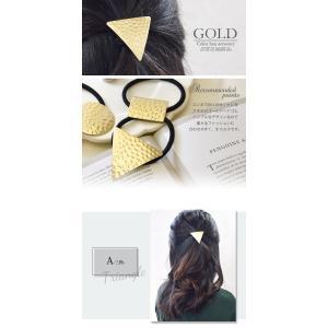 ヘアゴム メタル 三角 丸 四角 ゴールド ヘアアクセサリー|blaze-japan|02