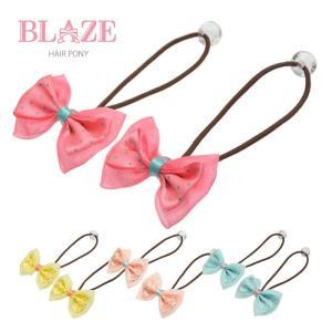 ドット と オーガンジー の リボン ヘアゴム 2個 セット BLAZE ヘアアクセ 花 子供 キッズ 女の子|blaze-japan