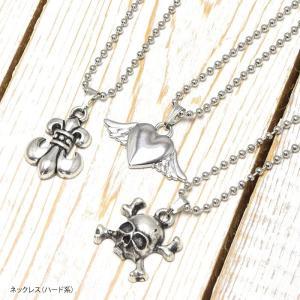 ネックレス ハード系 アクセサリー ドクロ ハート 百合の紋章 シルバー風 銀 レディース メンズ|blaze-japan