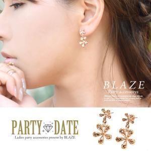 ダブル フラワー ピアス ガラスストーン ビジュー アクセサリー ピンクゴールド 花 大ぶり|blaze-japan