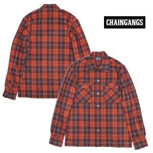 30%OFF CHAINGANG チェインギャング 長袖シャツ ウールチェックWOOL CHECK/ORANGE|bless-web