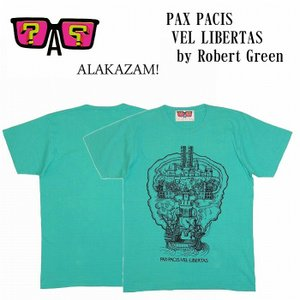 (SOLDOUT)ALAKAZAM アラカザム Tシャツ 半袖 グラフィックPAX PACIS VEL LIBERTAS by Robert Green/GREEN 再入荷|bless-web