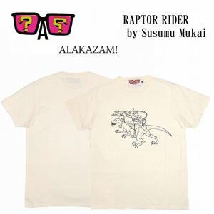 半額セール ALAKAZAM アラカザム Tシャツ 半袖 グラフィックRAPTOR RIDER by Susumu Mukai/OFF WHITE 再入荷|bless-web