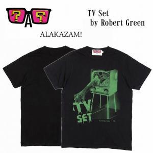 半額セール ALAKAZAM アラカザム Tシャツ 半袖 グラフィック TV Set by Robert Green/BLACK 再入荷|bless-web
