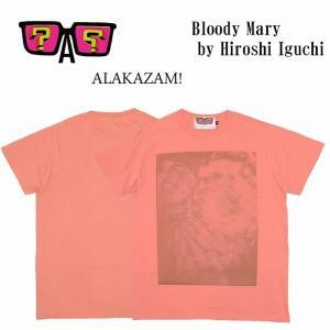 半額セール ALAKAZAM アラカザム Tシャツ 半袖 グラフィックBloody Mary by Hiroshi Iguchi/PINK 再入荷|bless-web