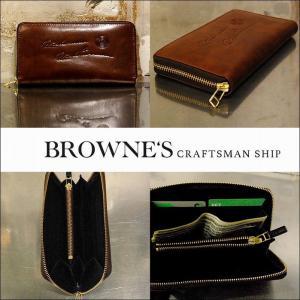 予約終了 BROWNE'S craftsman ship ブラウンズクラフトマンシップ 長財布 ウォレット レザーRound Fastener Wallet Rich man & Rich Woman bless-web