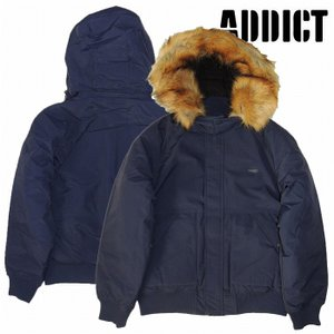 (SOLDOUT)ADDICT アディクト ジャケット MA-1 ファージャケットPUFF HOODED BOMBER / NAVY|bless-web