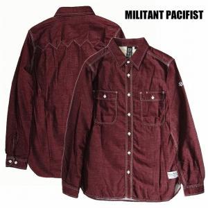 半額セール MILITANT PACIFIST ミリタントパシフィスト ネルシャツ 3本針ステッチ ワインレッドWHITE ST LS SHIRTS / RED|bless-web