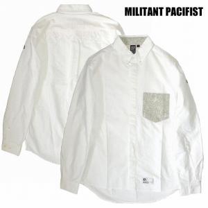 半額セール MILITANT PACIFIST ミリタントパシフィスト 長袖シャツ ボタンダウンシャツ ペイズリーCHANGE POCKET OXFORD SHIRTS / GREEN|bless-web
