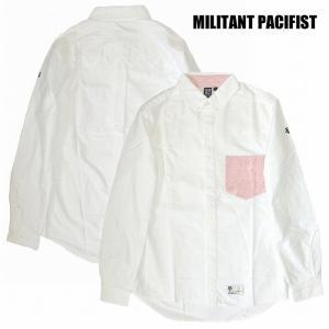 半額セール MILITANT PACIFIST ミリタントパシフィスト 長袖シャツ ボタンダウンシャツ ペイズリーCHANGE POCKET OXFORD SHIRTS / PINK|bless-web