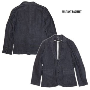 20%OFF MILITANT PACIFIST ミリタントパシフィスト テーラード リネンRUDEBACK LINEN JACKET/NAVY|bless-web