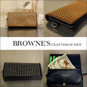 予約終了 BROWNE'S craftsman ship ブラウンズクラフトマンシップ 長財布 スタッズ 革Studs Long Wallet bless-web