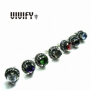VIVIFY ビビファイ ピアス クラウンピアスストーン シルバーRound Cut Stone Setting Pierce 受注生産|bless-web
