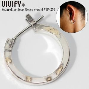 VIVIFY ビビファイ ピアス シルバー SquareLine Hoop Pierce w/gold|bless-web