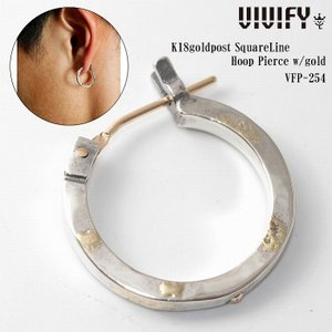 VIVIFY ビビファイ ピアス シルバー K18goldpost SquareLine Hoop Pierce w/gold|bless-web