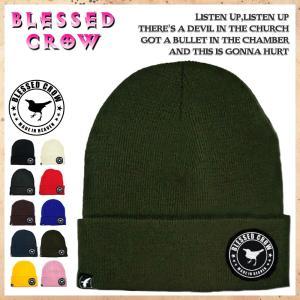 ニット帽 メンズ レディース ニットキャップ BlessedCrow ミディアムビーニー ブランド ロゴ パッチ blessedcrow