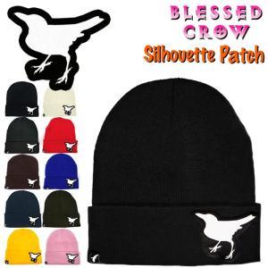 BlessedCrow Silhouette Patch ビーニー ミディアム ニット帽 メンズ レディース ニットキャップ  ブランド ロゴ パッチ|blessedcrow