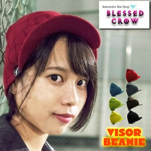 人気の短めツバ付き ニット帽 ニットキャップ BlessedCrow バイザービーニー 帽子 レディース|blessedcrow
