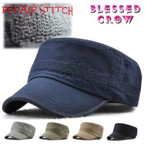 ワークキャップ メンズ 帽子 ワンポイント ダメージ ステッチ|blessedcrow