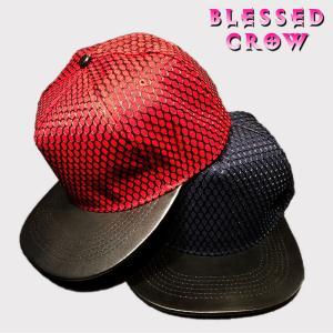 帽子 キャップ メンズ レディース レザー メッシュ スナップバック|blessedcrow