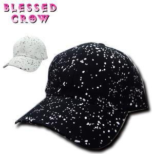 キャップ 帽子 メンズ ペイント モノトーン 黒 白 blessedcrow