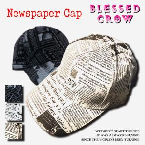 NewsPaperキャップ モノトーン 英字新聞 キャップ メンズ レディース blessedcrow