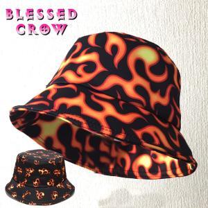フレイムバケットハット メンズ レディース 帽子 ハット 炎柄 赤 黒 blessedcrow