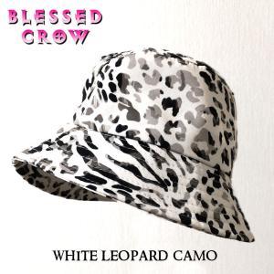 WhiteLeopardCamo バケットハット メンズ レディース 帽子 ハット レパード 迷彩 モノトーン blessedcrow