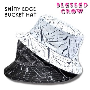 ShinyEdge バケットハット メンズ レディース 帽子 ハット モノトーン 黒 白 blessedcrow