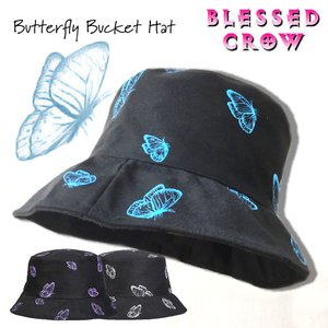 Butterfly バケットハット メンズ レディース 柄 蝶 帽子 ハット blessedcrow