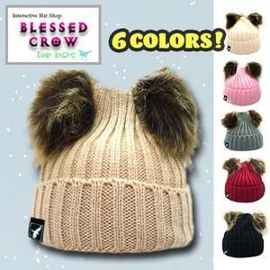 Blessedcrow ベビー ダブルポム ビーニー ポンポン ニット帽|blessedcrow