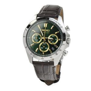 セイコーセレクション クロノグラフ 腕時計 グリーン SEIKO SBTR017 30,0 8Tクロノグラフ スピリット2 レザーバンド チョコ色皮革|blessyou
