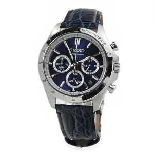 セイコーセレクション クロノグラフ 腕時計 SEIKO SBTR019 30,0 8Tクロノグラフ スピリット2 レザーバンド ネイビー 皮革|blessyou
