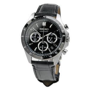 セイコーセレクション クロノグラフ 腕時計 SEIKO SBTR021 30,0 8Tクロノグラフ スピリット2 レザーバンド ブラック 皮革|blessyou