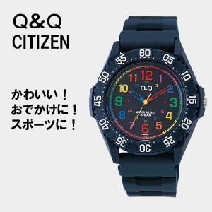 受験用 時計 Q&Q シチズン 腕時計 ネイビー レディース 安い 20代 防水  ネコポス配送 VR80-001 10気圧防水 受験用 時計 レディース 受験の時計|blessyou