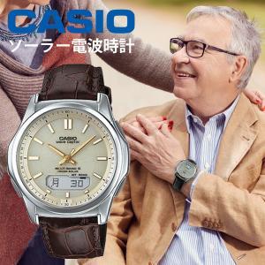 カシオ 電波ソーラー 腕時計 メンズ  チョコレート ブラウン レザーバンド   WVA-M630L-9AJF 20000  ギフト|blessyou