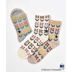 ムーミン 靴下 レディース 柄 おしゃれ ロークルーやわらかウールフラワーミイ刺繍 秋冬