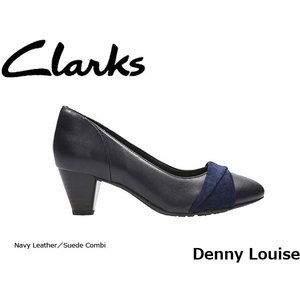 CLARKS クラークス パンプス レディース Denny Louise26127949 Navy Leather/Suede Combi CLA26127949 国内正規品|blissshop