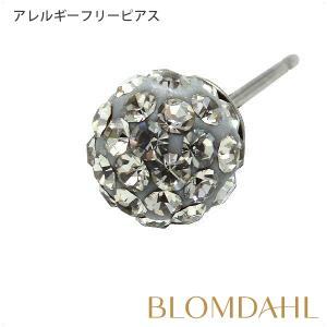 ピアス アレルギー対応 純チタン クリスタルボール 6mm ブラックダイヤモンド レディース 15-1268-12|blomdahljapan