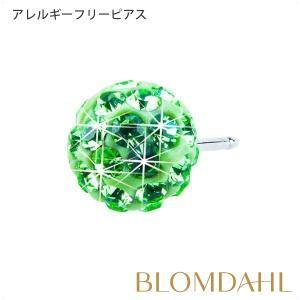 ピアス アレルギー対応 純チタン クリスタルボール 6mm ペリドット レディース 15-1268-16|blomdahljapan