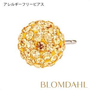 ピアス アレルギー対応 純チタン クリスタルボール 8mm ゴールデン レディース 15-1269-68|blomdahljapan