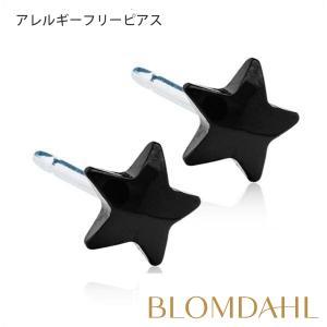 ピアス アレルギー対応 純チタン ブラック スター 5mm レディース 15-1508-00 blomdahljapan
