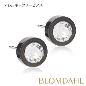 ピアス アレルギー対応 純チタン ブラック グランドベーゼル 8mm クリスタル レディース 15-1512-01 blomdahljapan
