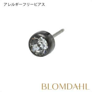 ピアス アレルギー対応 純チタン ブラック 丸型 5mm クリスタル レディース 15-1524-01 blomdahljapan