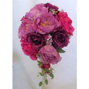 アートフラワー〔造花〕ブーケ/パープル、ピンクローズ セミキャスケード|bloomart