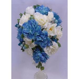 アートフラワー〔造花〕ブーケ/ラナンキュラス&ホワイトローズキャスケードブーケ|bloomart