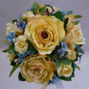 アートフラワー〔造花〕ブーケ/イエローローズ&ブルースターラウンドブーケ|bloomart