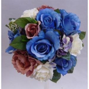アートフラワー〔造花〕ブーケ/ブルー&ピンク ラウンドブーケ|bloomart